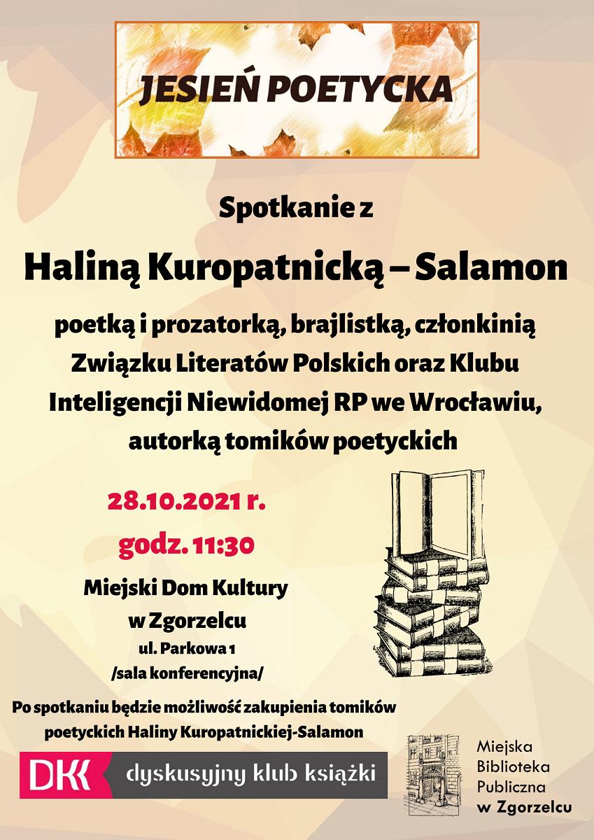 Spotkanie z Haliną Kuropatnicką – Salamon 28-10-2021