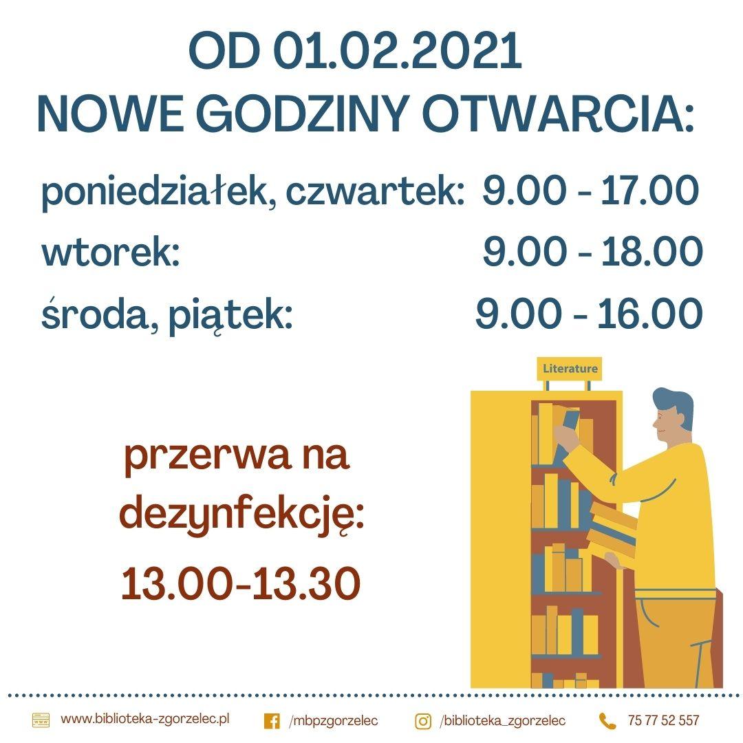 Plakat z informacją o nowych godzinach otwarcia biblioteki. Szczegółowy opis pod linkiem.